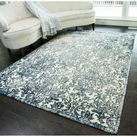 Sussex Modern Distressed Damask Area Rug - 5' x 8'