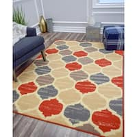 Jacoby Modern Moroccan Trellis Multi Color Area Rug - 5'x7'