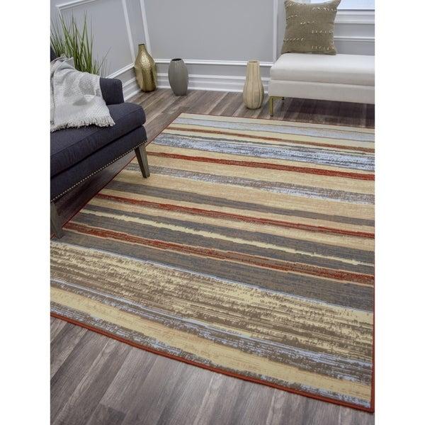Shop Uja Vintage Modern Wide Stripe Multi Color Area Rug