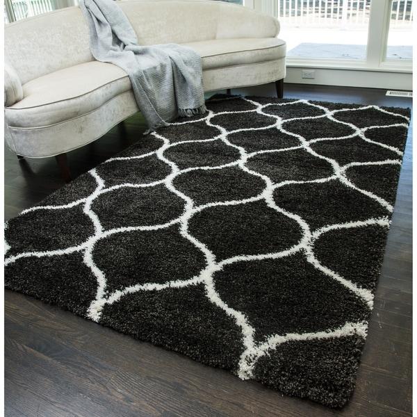 Chrome morrocan trellis soft shag area rug 8 x