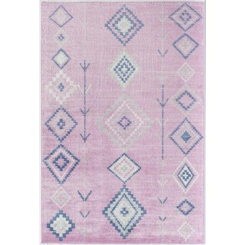 CosmoLiving Rumi Modern Diamond Boho Tribal Soft Area Rug