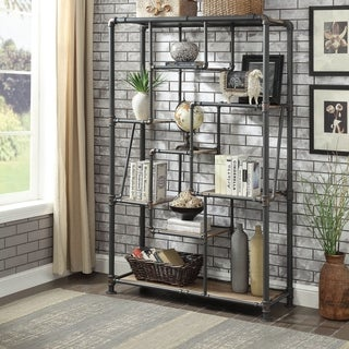 Furniture of America Stallard Industrial Sand Black Tiered Bookshelf