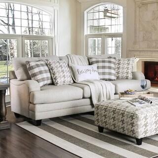 Furniture of America Murgia Transitional Grey Linen Sofa