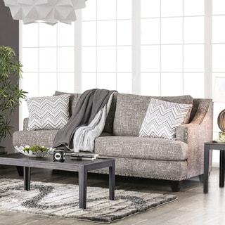 Shop Broadway Grey Fabric Sloped Track Arm Sofa Free