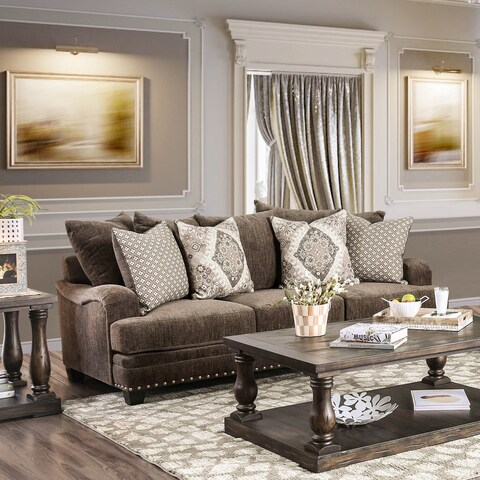 Furniture of America Rayna Traditional Chenille Sofa
