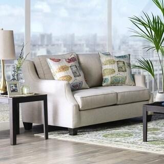 Furniture of America Adina Contemporary Beige Linen Love Seat