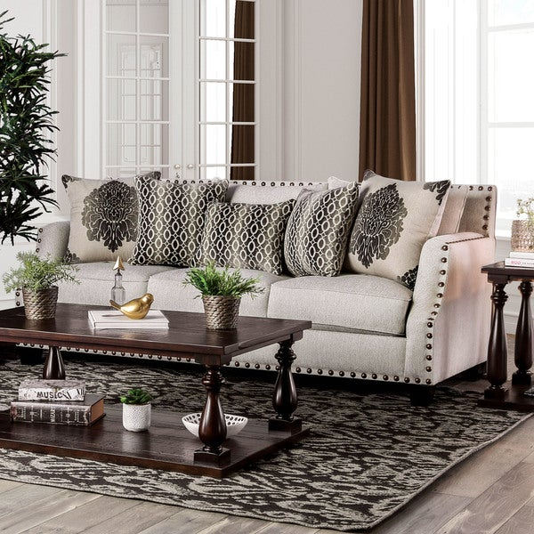 Shop Furniture Of America Hearn Contemporary Chenille Fabric Sofa