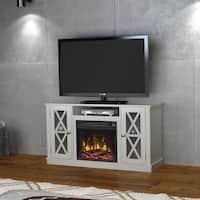 """Bayport TV Stand for TVs up to 55"""" with Electric Fireplace, White"""