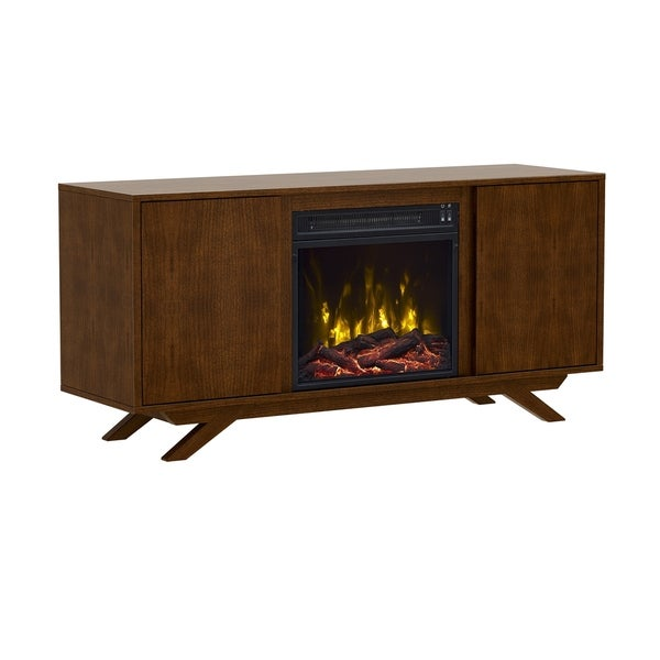 shop dalewood tv stand for tvs up to 55 with electric fireplace cherry free shipping today. Black Bedroom Furniture Sets. Home Design Ideas