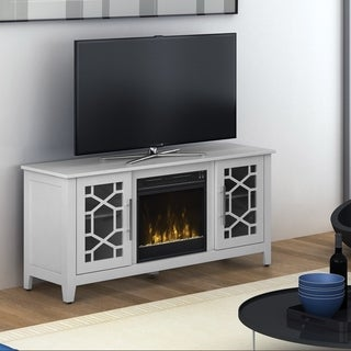 """Clarion TV Stand for TVs up to 60"""" with Electric Fireplace, White"""