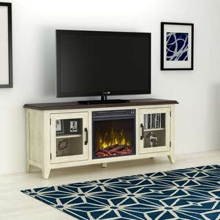 """Wilderness Run TV Stand for TVs up to 60"""" with Fireplace, White - 56 inches in width"""