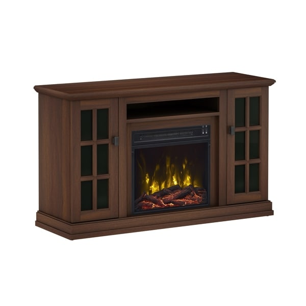 shop kinney tv stand for tvs up to 55 with fireplace stanton birch free shipping today. Black Bedroom Furniture Sets. Home Design Ideas