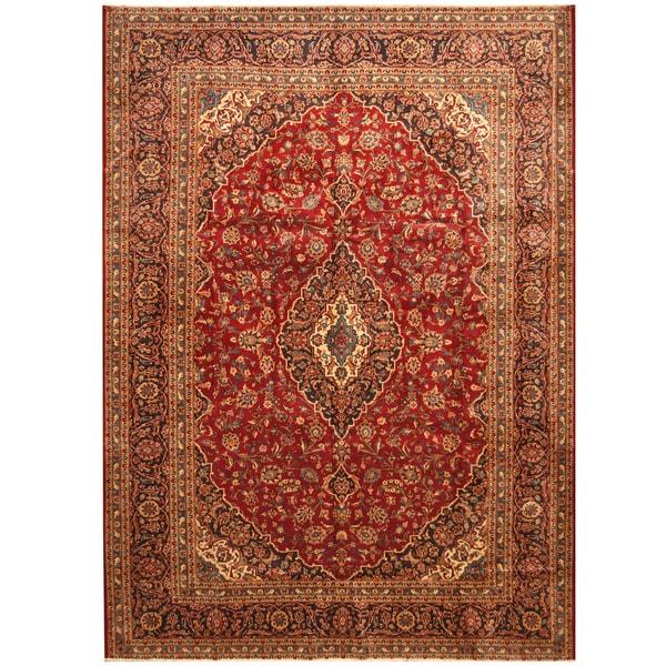 Handmade Herat Oriental Persian Hand-Knotted Kashan Wool Rug (Iran) - 8'9 x 12'1