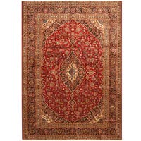 Handmade Herat Oriental Persian Hand-Knotted Kashan Wool Rug - 8'9 x 12'1 (Iran)