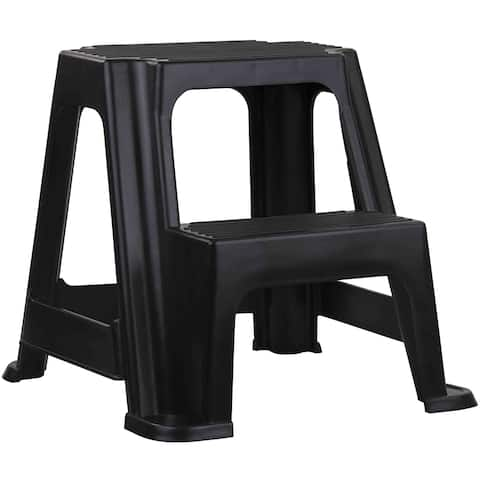Home Basics Black 2-step Plastic Step Stool
