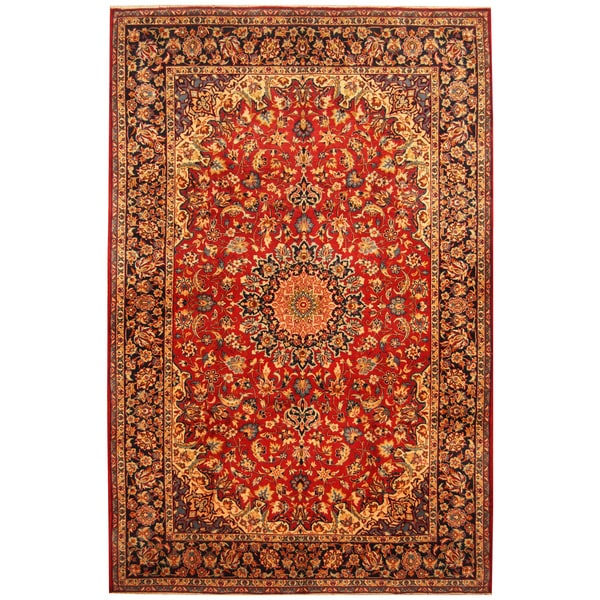 Handmade Herat Oriental Persian Hand-Knotted Isfahan Wool Rug (8' x 12'2) - 8' x 12'2