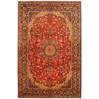 Handmade Herat Oriental Persian Hand-Knotted Isfahan Wool Rug (8' x 12'2)