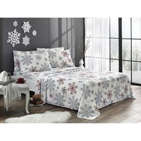 Red Snowflake Flannel Sheet Set