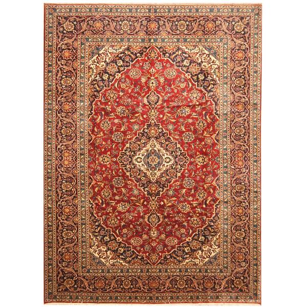 Handmade Herat Oriental Persian Hand-Knotted Kashan Wool Rug - 8'6 x 11'7