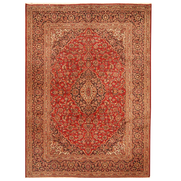 Handmade Herat Oriental Persian Hand-Knotted Kashan Wool Rug (8' x 11') - 8' x 11'