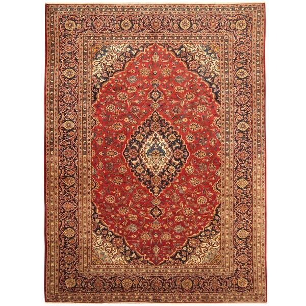 Handmade Herat Oriental Persian Hand-Knotted Kashan Wool Rug (8'4 x 11'6) - 8'4 x 11'6