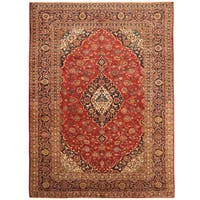 Handmade Herat Oriental Persian Hand-Knotted Kashan Wool Rug - 8'4 x 11'6