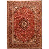 Handmade Herat Oriental Persian Hand-Knotted Kashan Wool Rug - 7'10 x 10'10