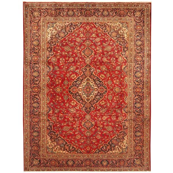 Handmade Herat Oriental Persian Hand-Knotted Kashan Wool Rug (8'10 x 11'8) - 8'10 x 11'8