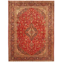Handmade Herat Oriental Persian Hand-Knotted Kashan Wool Rug - 8'10 x 11'8