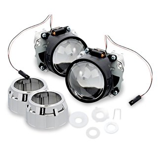 """Zone Tech 2.5"""" Mini HID Bixenon Projector Lens - 2 Sets Chrome Shround 2.5"""" Mini HID Bixenon Projector Lens for H1 Bulb Car"""