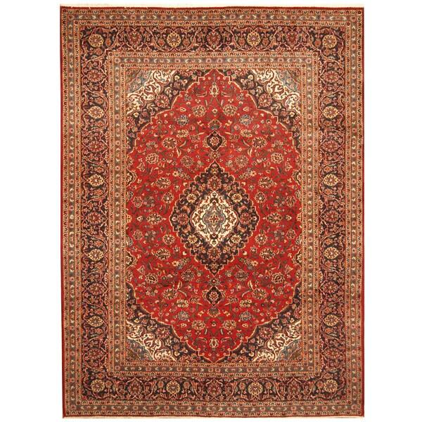 Handmade Herat Oriental Persian Hand-Knotted Kashan Wool Rug - 8' x 11'