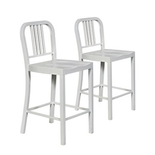 Keisha White Steel Counter Stool (Set of 2)