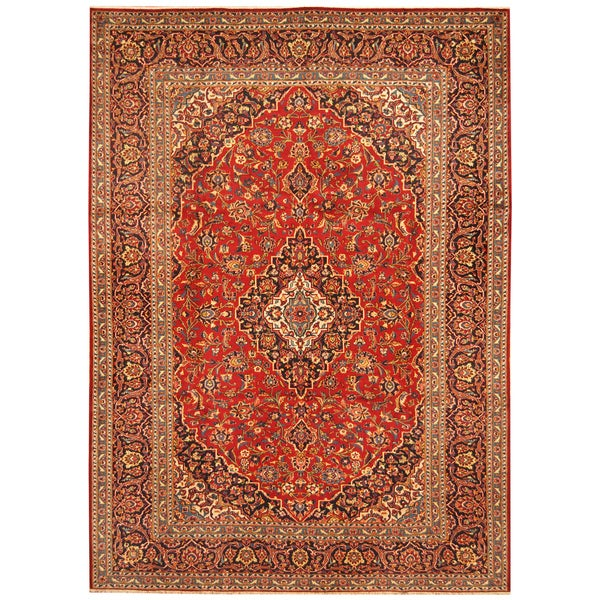 Handmade Herat Oriental Persian Hand-Knotted Kashan Wool Rug - 8'5 x 11'9