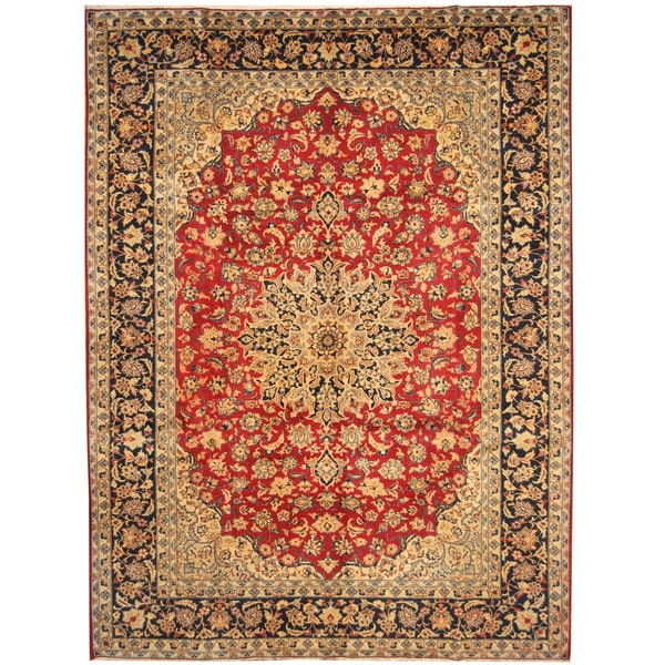 Handmade Herat Oriental Persian Hand-Knotted Isfahan Wool Rug - 8'10 x 12'