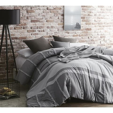 BYB Gray Dual Tone Linear Ruffles - Handcrafted Series - Oversized Comforter