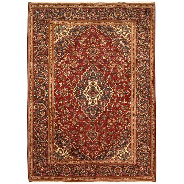 Handmade Herat Oriental Persian Hand-Knotted Kashan Wool Rug - 8'2 x 11'4