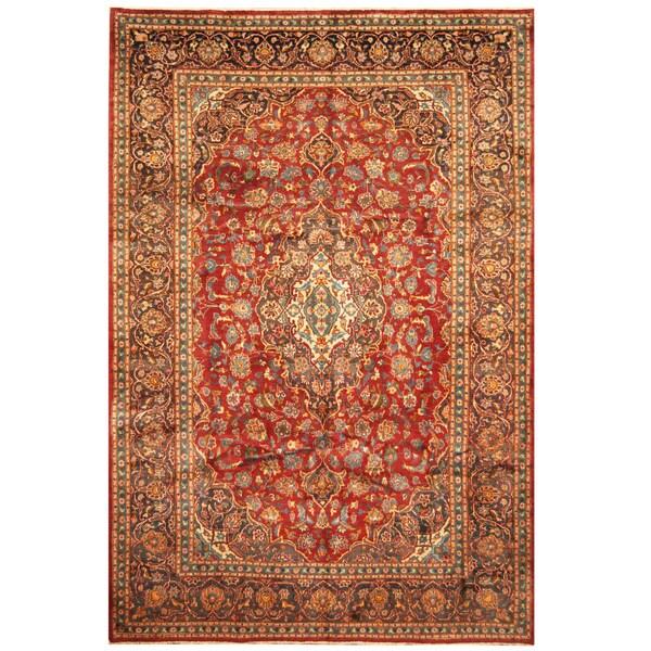 Handmade Herat Oriental Persian Hand-Knotted Kashan Wool Rug (7'3 x 10'9) - 7'3 x 10'9
