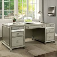 Furniture of America Kalen Contemporary Glam Silver Home Office Desk