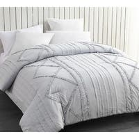 BYB Glacier Gray Centric Ruffles - Handcrafted Series Oversized Comforter