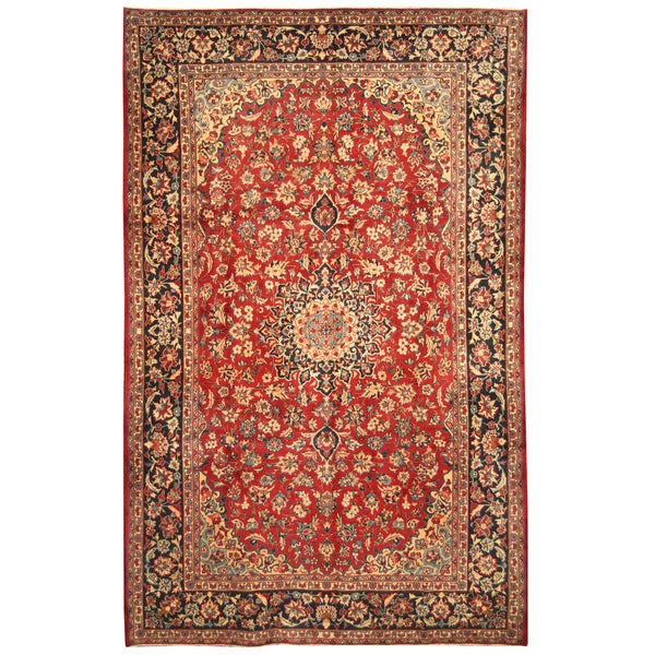 Handmade Herat Oriental Persian Hand-Knotted Isfahan Wool Rug (7'7 x 12')