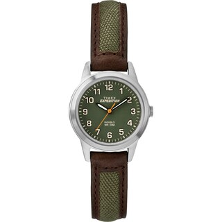 Timex Women's TW4B12000 Expedition Field Mini Brown/Green Nylon/Leather Strap Watch - green