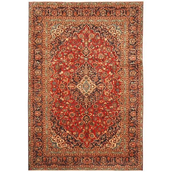 Handmade Herat Oriental Persian Hand-Knotted Kashan Wool Rug (7'8 x 11'2)