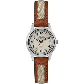 Timex Women's TW4B11900 Expedition Field Mini Brown/Natural Nylon/Leather Strap Watch - brown