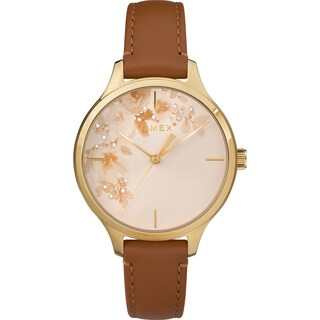 Timex Women's TW2R66900 Crystal Bloom Tan/Gold Floral Accent Leather Strap Watch - brown