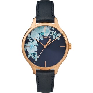 Timex Women's TW2R66700 Crystal Bloom Blue/Rose Gold Floral Accent Leather Strap Watch - BLue