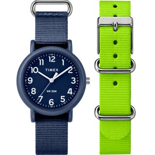 Timex Unisex TWG018400 Weekender Color Rush Navy/Green Box Set - BLue