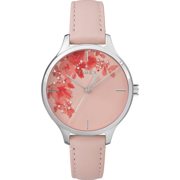 Timex Women's TW2R66600 Crystal Bloom Pink/Silver Floral Accent Leather Strap Watch - PInk