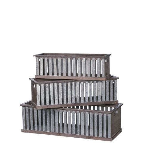 Slotted Crate Square Decorative Planters - Set of 3