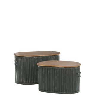 Wood Lid Tubs - Set of 2