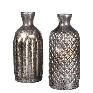 Silver Textured Vase Set - Set of 2